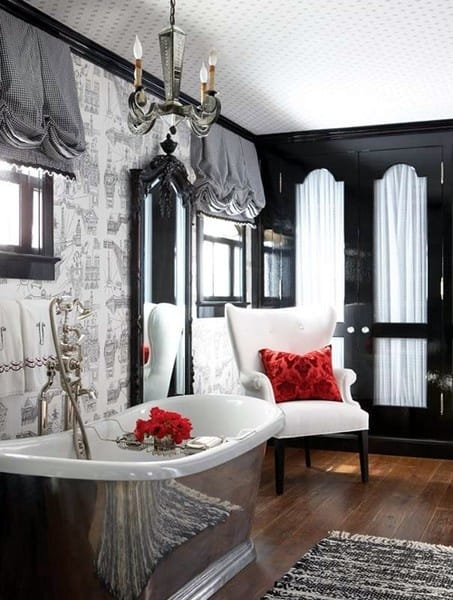 A Chic Black And White Bathroom With A Silver ...