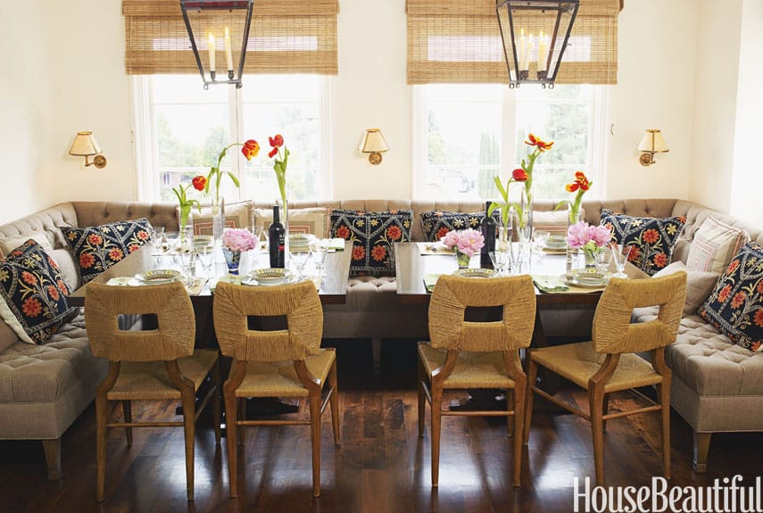 Eat in nook kitchen banquette ideas megan morris for Dining room banquette