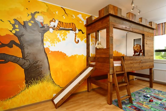 Creative ideas for little boys 39 bedrooms megan morris for Calvin and hobbes nursery mural