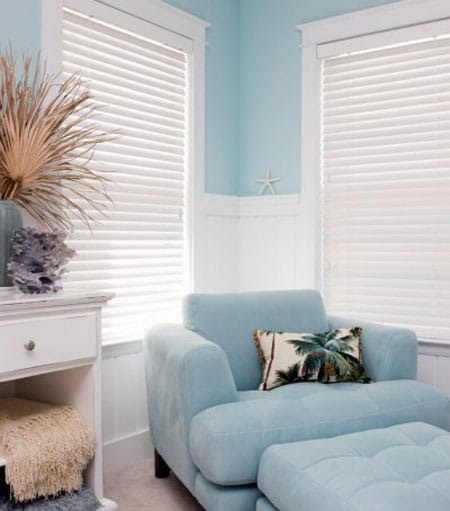 Wood Venetian Blinds Look Nice In This Living Room Without Curtains Because The Windows