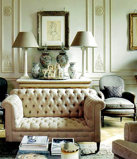 chesterfield sofas also come in smaller love seats that have a chic