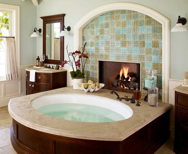 Fire water inspiring bathroom fireplace ideas megan for Bathroom with fireplace and tv