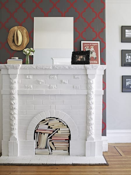 the empty space in a fireplace turning it into extra storage space
