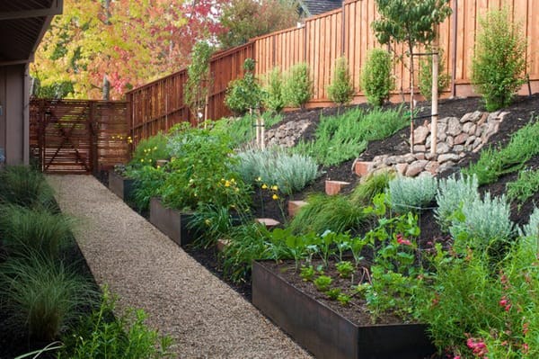 Hillside landscaping ideas for a sloped backyard for Small sloping garden designs