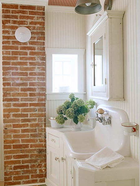 Bathrooms With Exposed Brick Walls