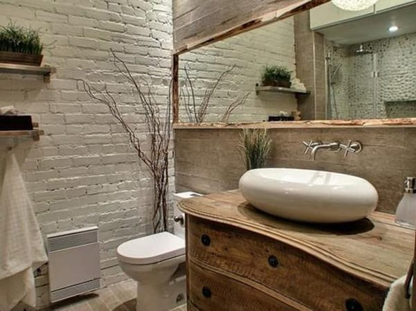 Bathrooms With Exposed Brick Walls | HomeandEventStyling.com