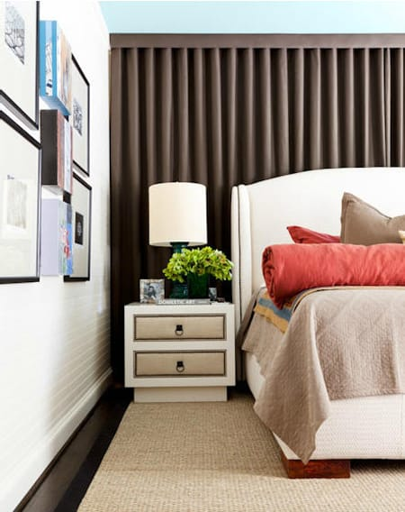 Chic Bedroom Style Curtains Behind The Bed