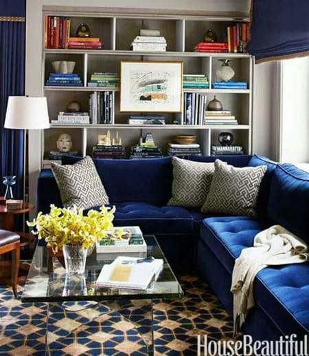 Cobalt Blue Sofa Brings Some Depth To A Gray Palette Which Brings