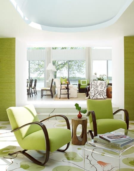lime green grass cloth incorporates color and texture into this space