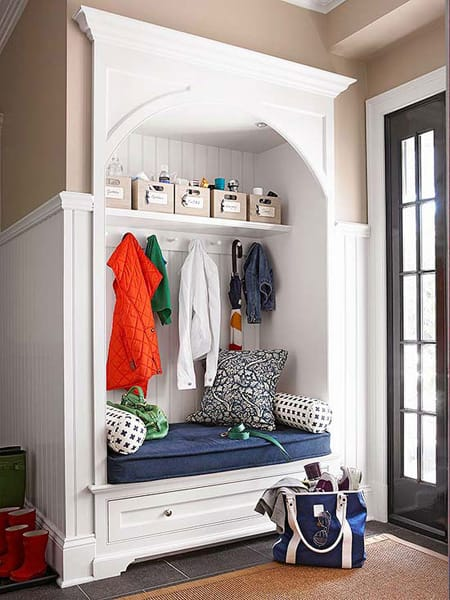 Charming Clever Hall Closet Storage Ideas | HomeandEventStyling.com