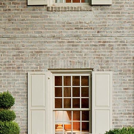 Spice up your curb appeal with colorful shutters - Lime wash paint exterior design ...