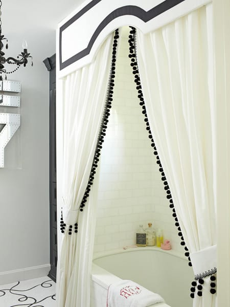 10 Ideas for a More Glamorous Shower Curtain | HomeandEventStyling.com #bathroom #shower