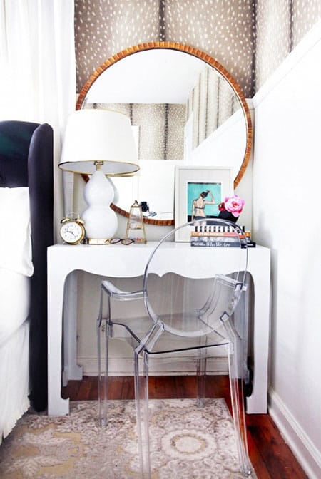 bedroom a lucite chair takes up less visual space to keep the spot