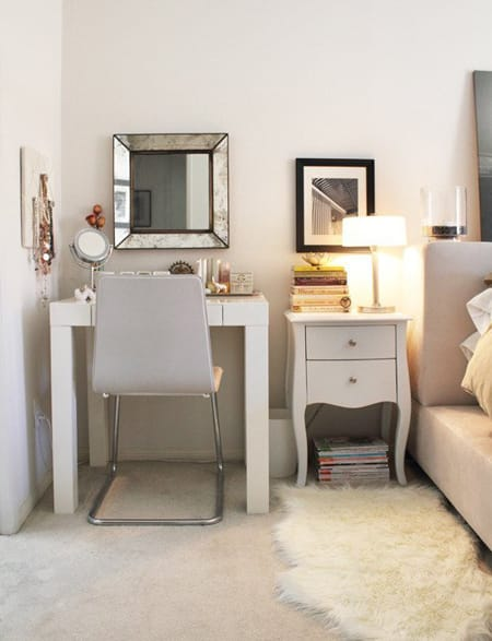 simple vanity can fit nicely next to an end table too and you can