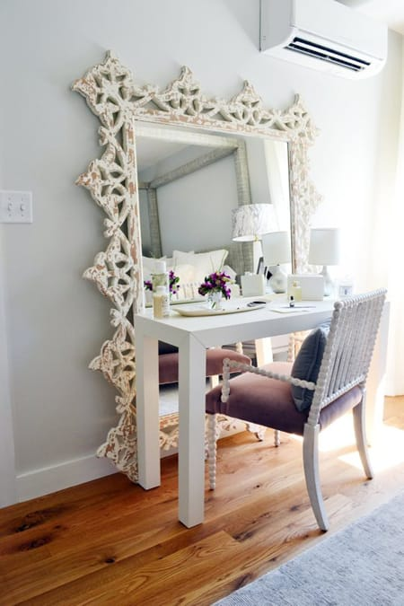 every vanity needs a mirror but this is an excellent twist on that