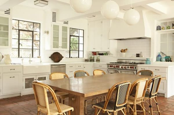 The Bistro Chairs Look Great In This Traditional All White Kitchen
