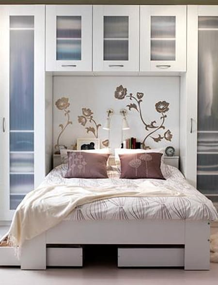 Here is another example of using cabinets all around the bed. The ...