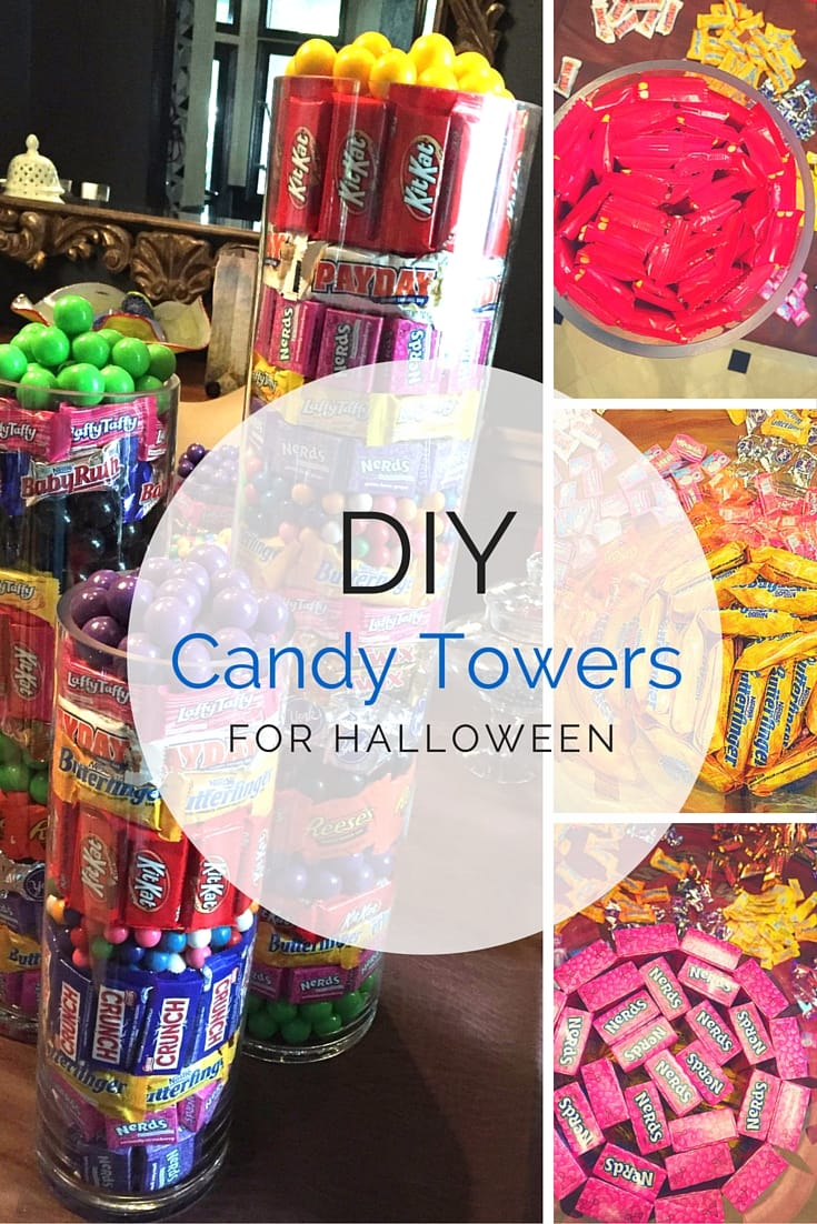 How to make candy towers, a fun Halloween DIY project for the family. Click through to see the tutorial at HomeandEventStyling.com!