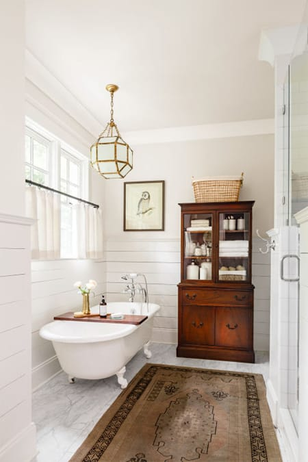 Increasing Storage & Style with a Bathroom Hutch   HomeandEventStyling.com