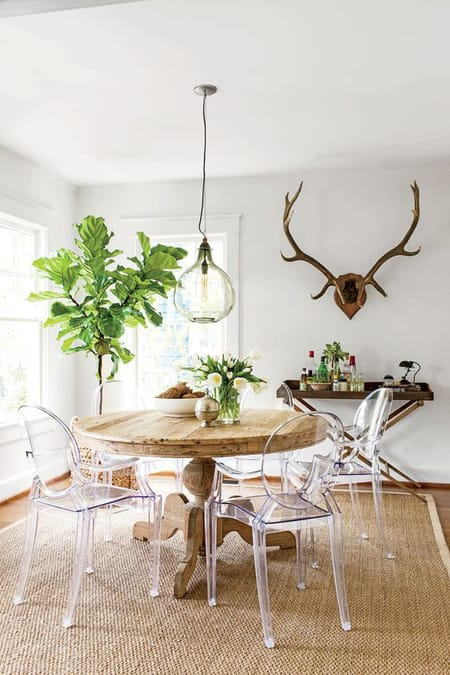 Clearly Chic Dining Rooms with Lucite Chairs | HomeandEventStyling.com