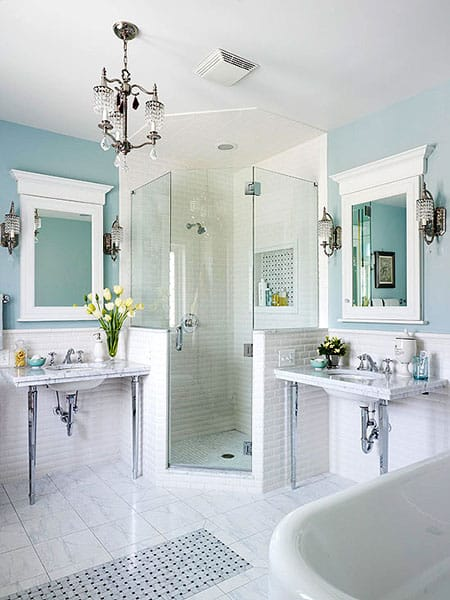 Making a Bathroom Look More Upscale with Framed Mirrors | HomeandEventStyling.com