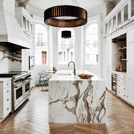 Making a Statement with a Marble Kitchen Island | HomeandEventStyling.com