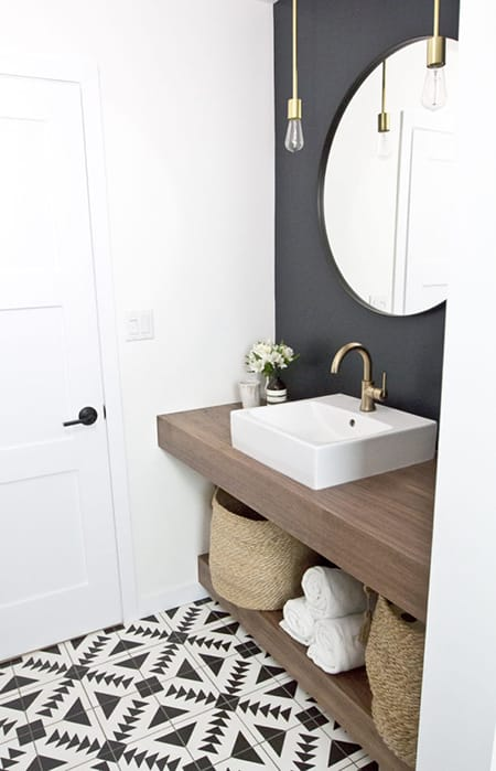 Playing with Shapes: Opting for a Round Mirror in a Bathroom | HomeandEventStyling.com