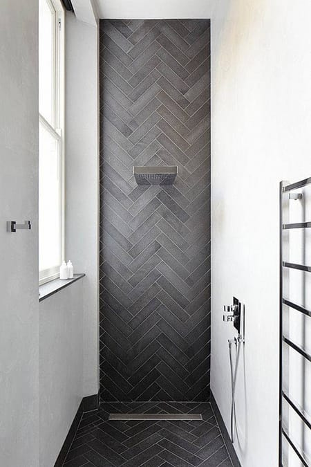 The Unconventional, Dramatic Look of a Black Shower | HomeandEventStyling.com
