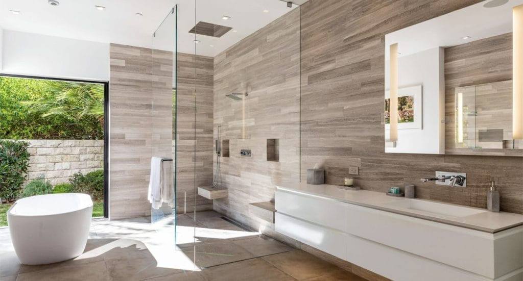 Master bathroom with large shower and freestanding soak tub