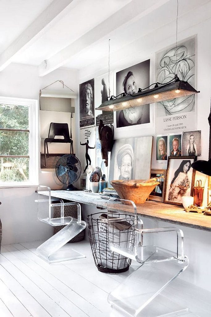 Home office with Scandinavian design and white floor