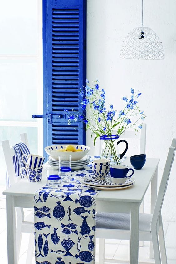 White and blue Mediterranean home decor