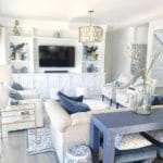 White and blue coastal home decor