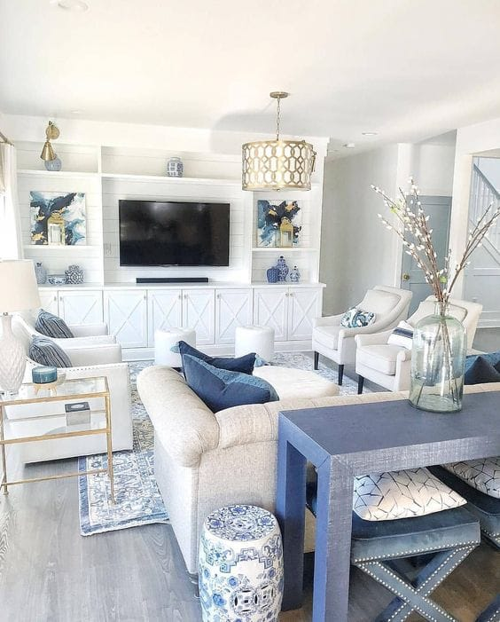 White and blue coastal home decor