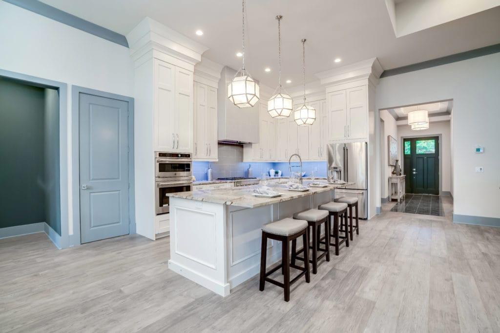 Beautiful kitchen island trend of statement pendant lighting