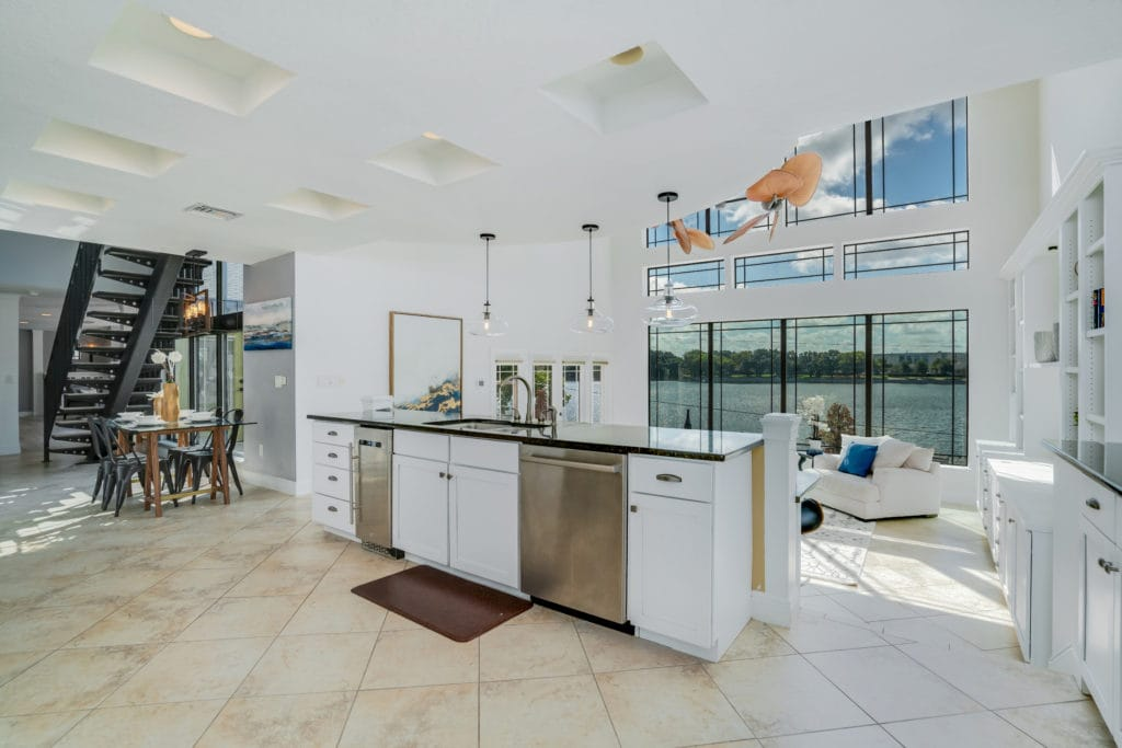 Including a sink and dishwasher is a popular kitchen island trend