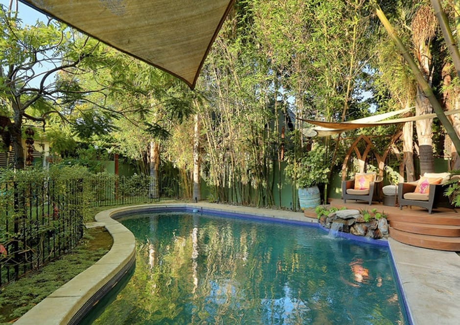 Pool with Shade Sails at Melissa McCarthy's Toluca Lake Home