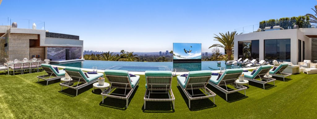 Pool and retractable tv screen at 924 Bel Air Road