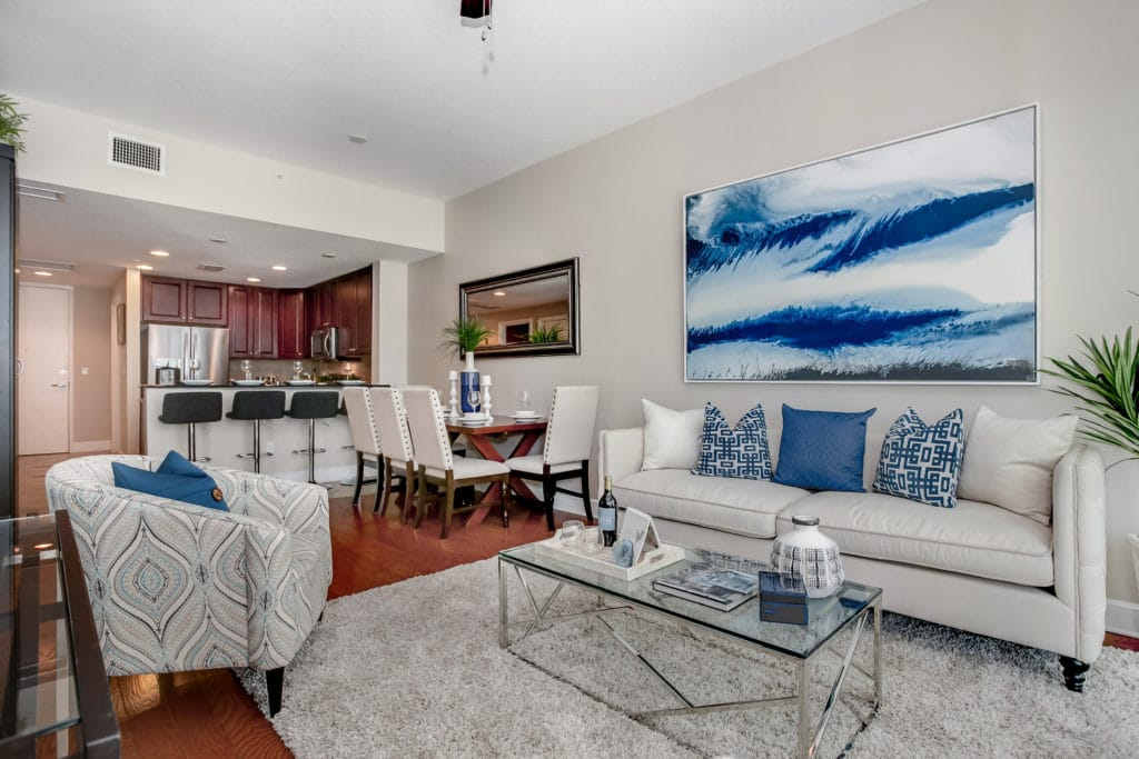 Staged living room of a downtown condo