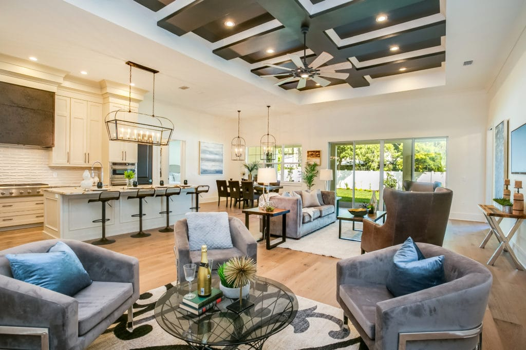 Staged home with an open floor plan
