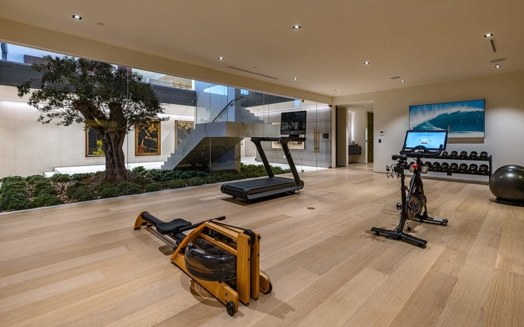 Gym overlooking the tree inside 9268 Robin Drive