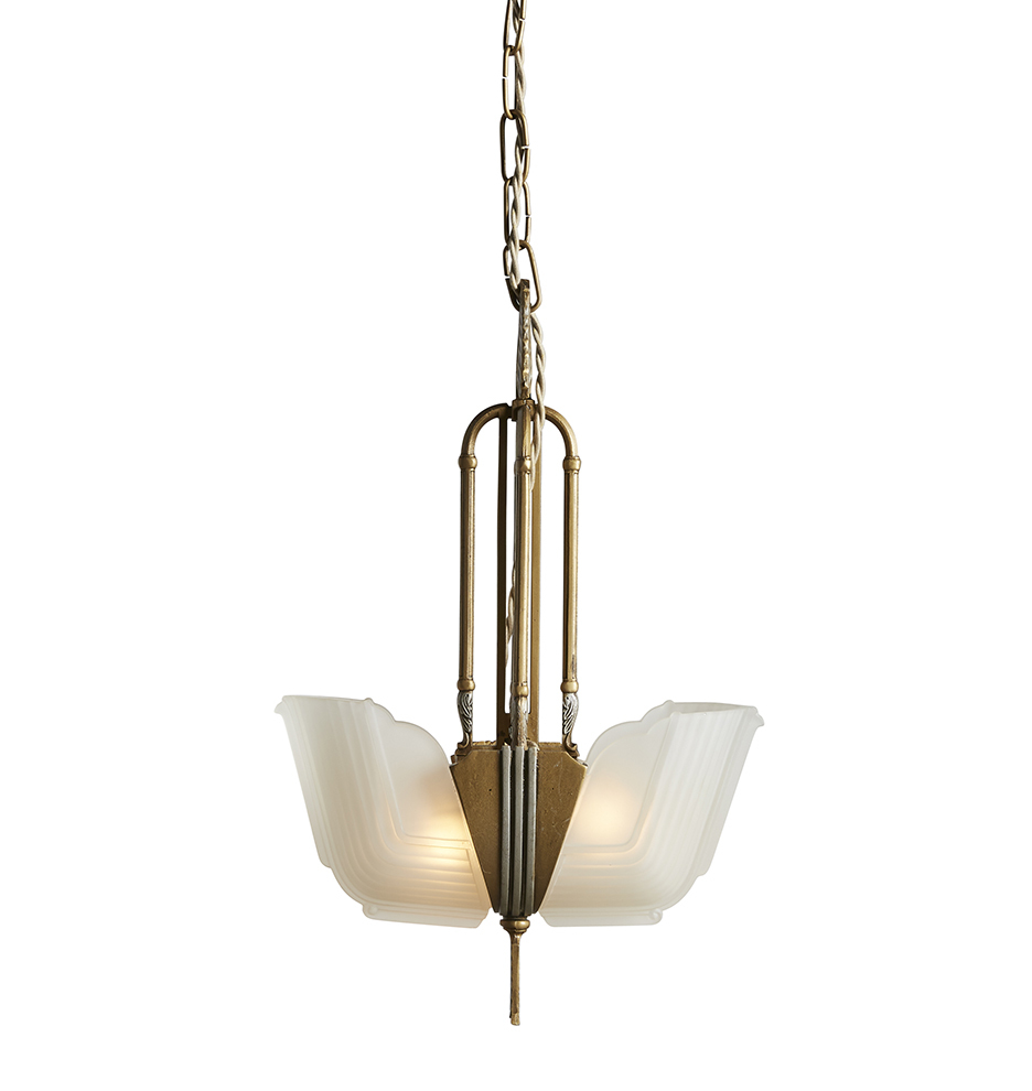 Example of antique statement lighting: a hanging pendant light with white frosted glass