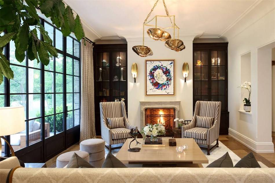 Living room inside Gisele Bündchen and Tom Brady's Boston mansion