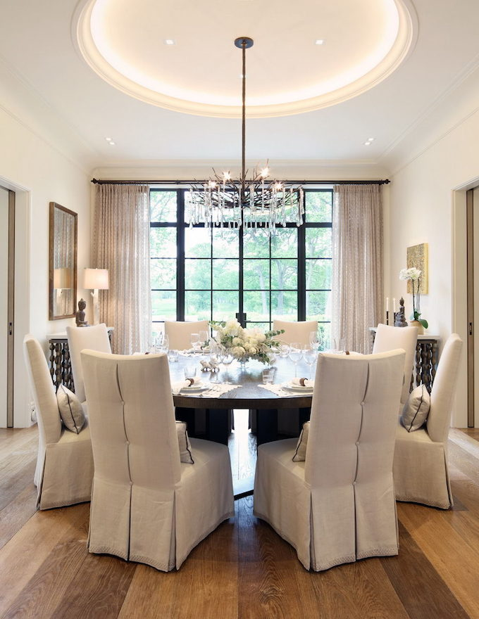 Dining room window inside Gisele Bündchen and Tom Brady's Boston mansion