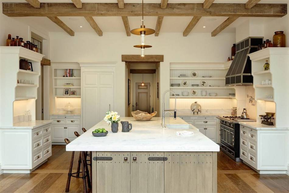 Kitchen island inside Gisele Bündchen and Tom Brady's Boston mansion