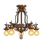 Brass antique statement lighting fixture