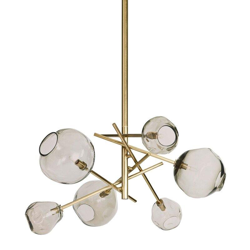 Sputnik-style geometric glass and brass lighting fixture