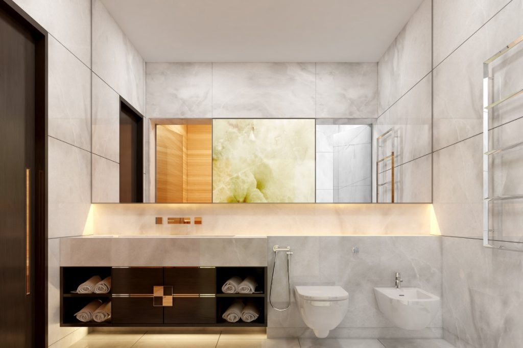 White onyx counters and walls in a bathroom
