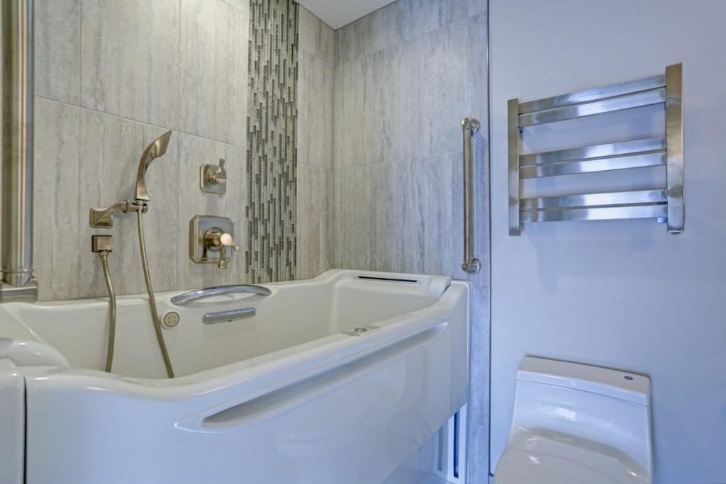Walk-in bathtub with shower head