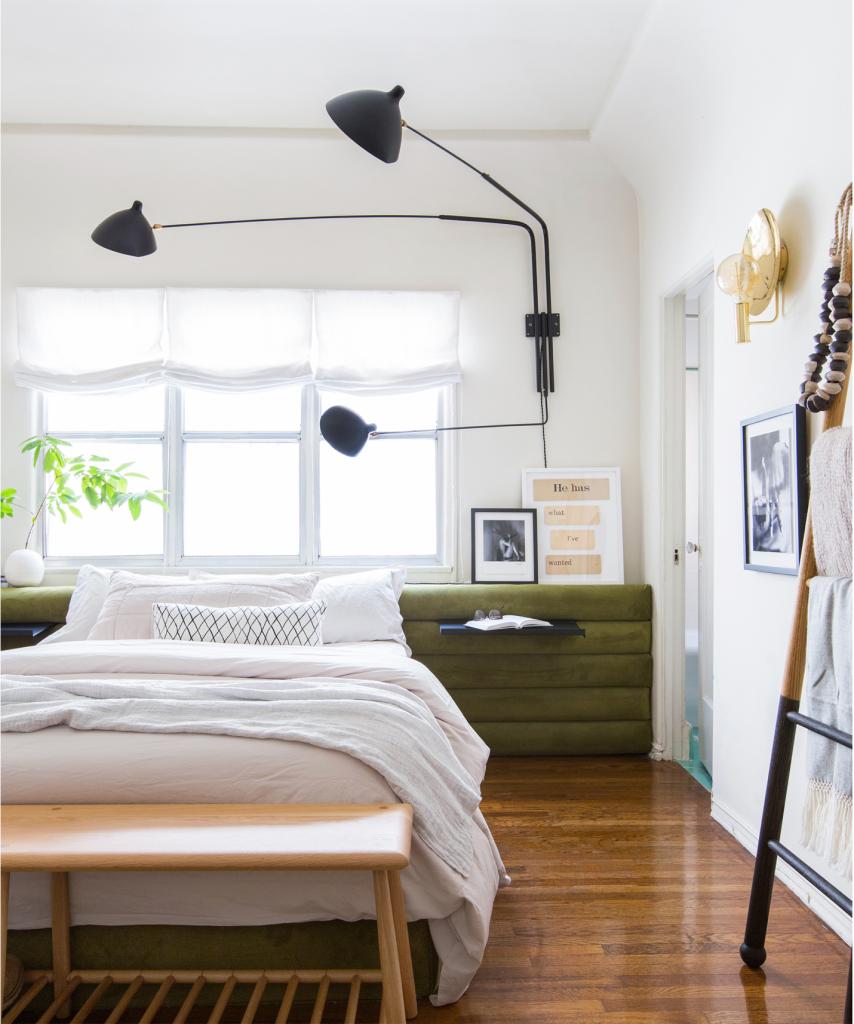 Bedroom with green nightstands