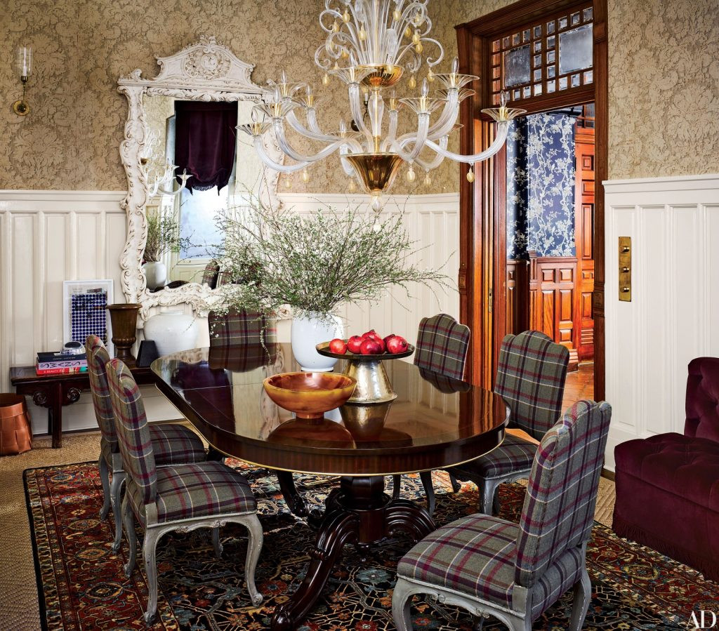 Plaid Parsons chairs in a classically designed dining room